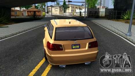 GTA V Benefactor Schafter Wagon para GTA San Andreas vista posterior izquierda
