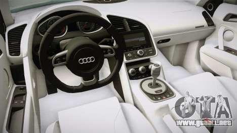 Audi R8 Coupe 4.2 FSI quattro US-Spec v1.0.0 v4 para visión interna GTA San Andreas