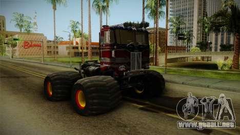 Peterbilt Monster Truck para GTA San Andreas vista posterior izquierda