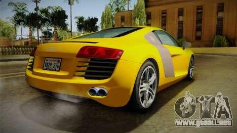 Audi R8 Coupe 4.2 FSI quattro EU-Spec 2008 Dirt para GTA San Andreas left