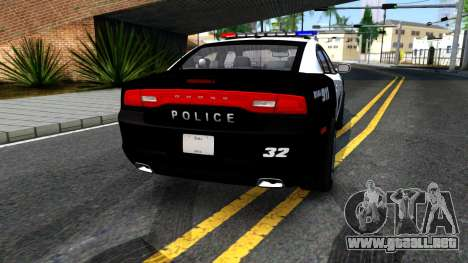 Dodge Charger Rittman Ohio Police 2013 para GTA San Andreas vista posterior izquierda