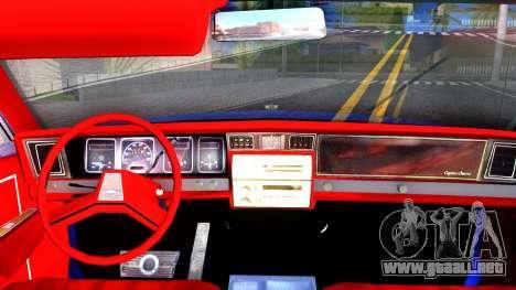 Chevrolet Caprice 1987 Tuning para visión interna GTA San Andreas