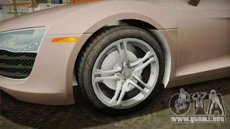 Audi R8 Coupe 4.2 FSI quattro US-Spec v1.0.0 v4 para GTA San Andreas vista hacia atrás