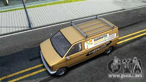 GTA V Declasse Burrito Commercial para GTA San Andreas vista hacia atrás
