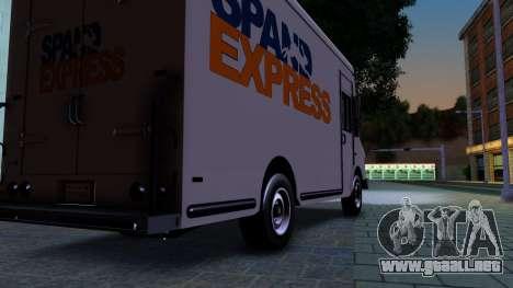 GTA IV Brute Boxville with SpandEx livery para GTA San Andreas vista hacia atrás