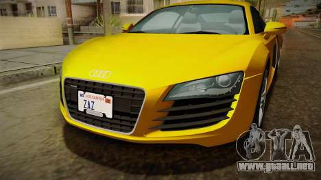 Audi R8 Coupe 4.2 FSI quattro EU-Spec 2008 Dirt para vista lateral GTA San Andreas
