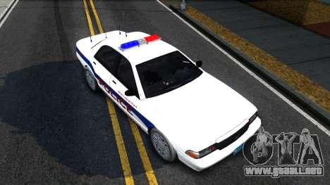 Vapid Stanier Metropolitan Police 2009 para GTA San Andreas vista hacia atrás
