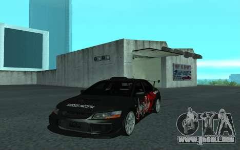 Mitsubishi Lancer Evolution VII para GTA San Andreas vista hacia atrás