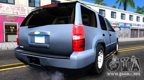 Chevy Tahoe Metro Police Unmarked 2012 para la visión correcta GTA San Andreas