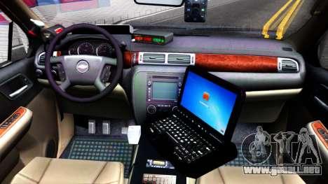 Chevy Tahoe Metro Police Unmarked 2012 para visión interna GTA San Andreas