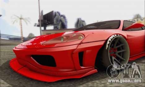 Ferrari 360 LB Work para GTA San Andreas vista posterior izquierda