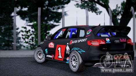 Audi RS3 Sportback Rally WRC para GTA San Andreas vista posterior izquierda