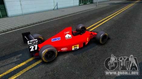 Ferrari 640 F1 1989 para GTA San Andreas vista posterior izquierda