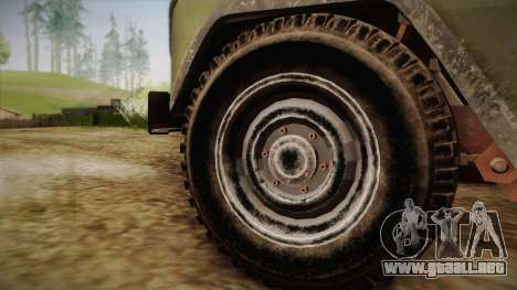 УАЗ-3151 CoD4 MW Remasterizado para GTA San Andreas vista posterior izquierda