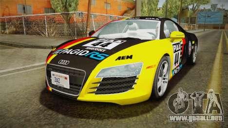 Audi R8 Coupe 4.2 FSI quattro US-Spec v1.0.0 v4 para vista inferior GTA San Andreas