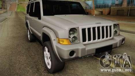 Jeep Commander 2010 para GTA San Andreas vista posterior izquierda