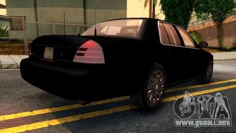 Ford Crown Victoria Detective 2008 para GTA San Andreas vista posterior izquierda