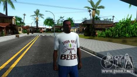 White Beer T-Shirt para GTA San Andreas segunda pantalla