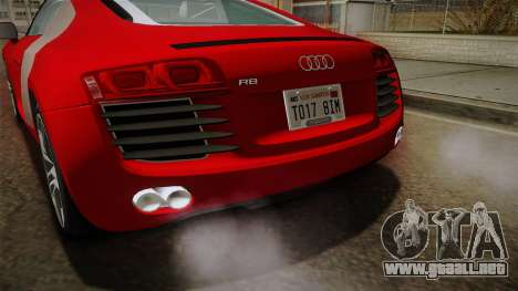 Audi R8 Coupe 4.2 FSI quattro EU-Spec 2008 YCH2 para vista inferior GTA San Andreas