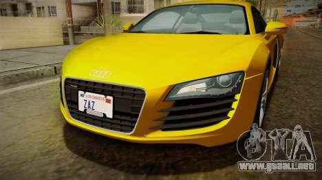 Audi R8 Coupe 4.2 FSI quattro EU-Spec 2008 Dirt para la vista superior GTA San Andreas