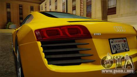 Audi R8 Coupe 4.2 FSI quattro EU-Spec 2008 Dirt para vista inferior GTA San Andreas
