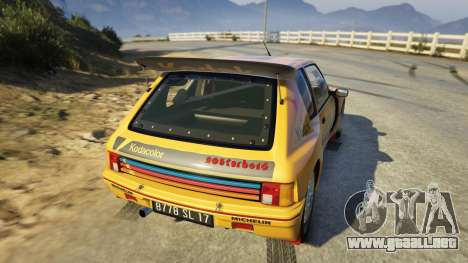 GTA 5 Peugeot 205 Turbo 16 vista lateral izquierda trasera