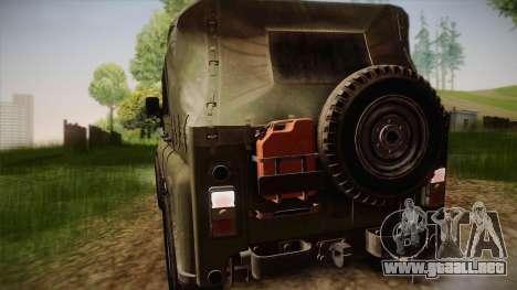 УАЗ-3151 CoD4 MW Remasterizado para GTA San Andreas vista hacia atrás
