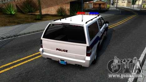 Declasse Granger Metropolitan Police 2012 para GTA San Andreas vista posterior izquierda