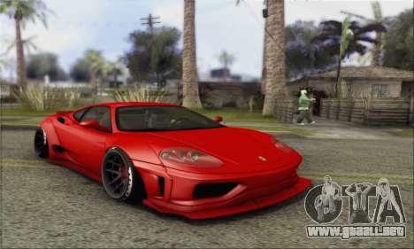 Ferrari 360 LB Work para GTA San Andreas vista hacia atrás