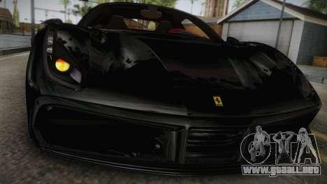 Ferrari 488 GTB para GTA San Andreas vista posterior izquierda