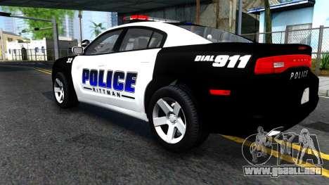 Dodge Charger Rittman Ohio Police 2013 para GTA San Andreas vista hacia atrás