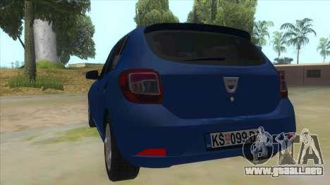 2016 Dacia Sandero para GTA San Andreas vista posterior izquierda