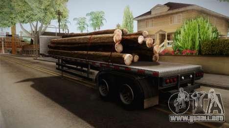 GTA 5 Log Trailer v2 IVF para GTA San Andreas vista posterior izquierda