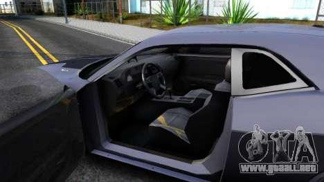 Dodge Challenger Unmarked 2010 para visión interna GTA San Andreas