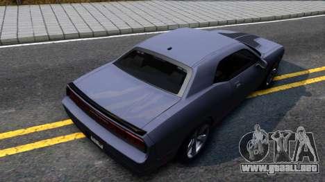 Dodge Challenger Unmarked 2010 para GTA San Andreas vista hacia atrás