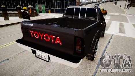 Toyota Hilux 2010 2 doors para GTA 4 Vista posterior izquierda