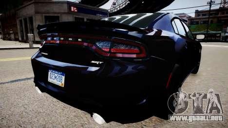 Dodge Charger SRT Hellcat 2015 para GTA 4 Vista posterior izquierda