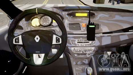 Renault Clio Symbol Police 2011 para GTA 4 vista interior