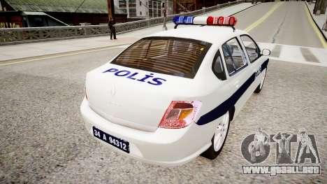 Renault Clio Symbol Police 2011 para GTA 4 Vista posterior izquierda