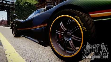 Pagani Zonda R Evolucion Final para GTA 4 vista hacia atrás