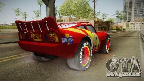 Cars 3 - McQueen para GTA San Andreas vista posterior izquierda