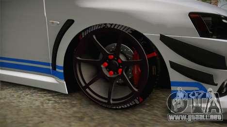 Mitsubishi Lancer EvoStreet PRO para GTA San Andreas vista hacia atrás