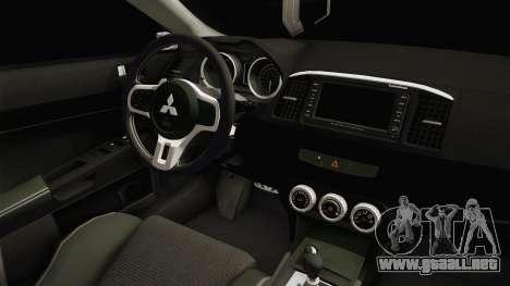 Mitsubishi Lancer EvoStreet para visión interna GTA San Andreas