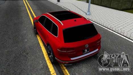 Volkswagen Touareg 2015 para GTA San Andreas vista hacia atrás