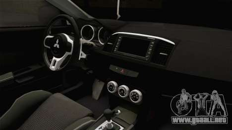 Mitsubishi Lancer EvoStreet PRO para visión interna GTA San Andreas