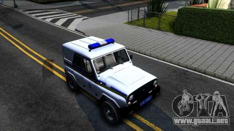 UAZ Hunter Policía de Ucrania para la visión correcta GTA San Andreas