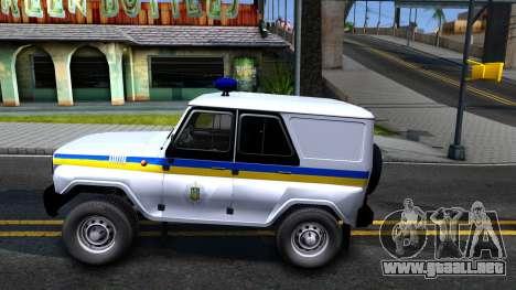 UAZ Hunter Policía de Ucrania para GTA San Andreas left