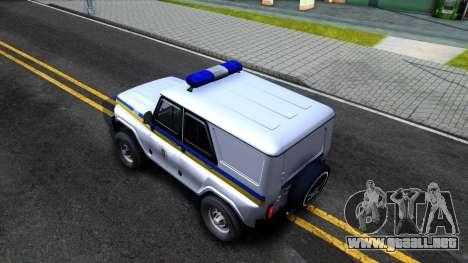 UAZ Hunter Policía de Ucrania para GTA San Andreas vista hacia atrás