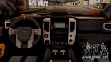 Nissan Titan Warrior 2017 para visión interna GTA San Andreas