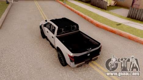 Nissan Titan Warrior 2017 para GTA San Andreas vista hacia atrás